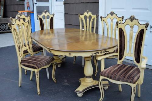 French Provincial Ornate China Cabinet and dining table with 6 chairs