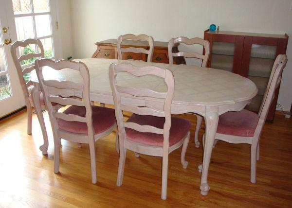 French provincial victorian shabby chic dining room set table chairs for sale in menlo park - Shabby chic dining table sets ...