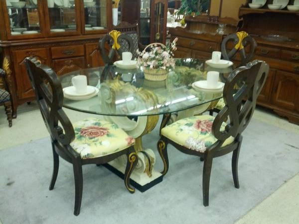 French Style Glass Top Dining Table