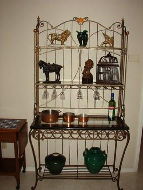 French Wrought Iron Baker's Rack with Glass Shelves.