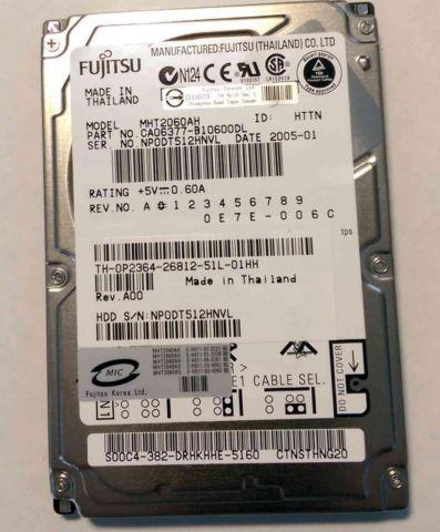 Fujitsu MHT2060AH PATA IDE Laptop Hard drive
