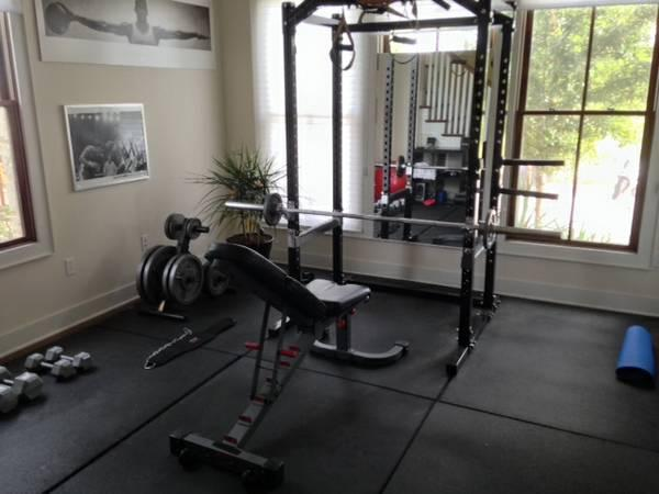Full home gym for sale. Squat rack, DBs, olympic