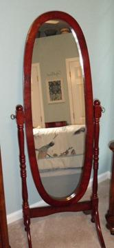 Full length oval mirror and jewlery Armoire and rooster dishes