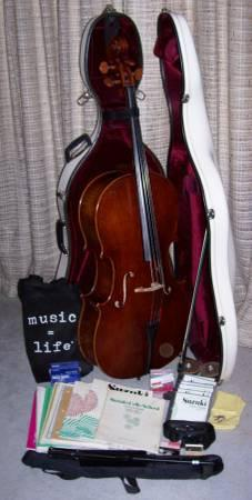 Full Size Cello Hardcase Bow Music CDs Equipment Frank Denti - $6800