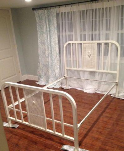 FULL Size VINTAGE Metal Iron Bed with Side Rails