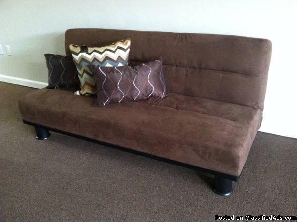 Futon Sofa Sleeper Dark Brown New 1 Left Delivery