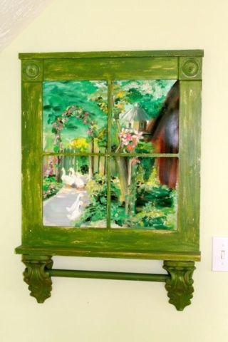 Garden Print In Window Pane Frame With Towel Rack For Sale In