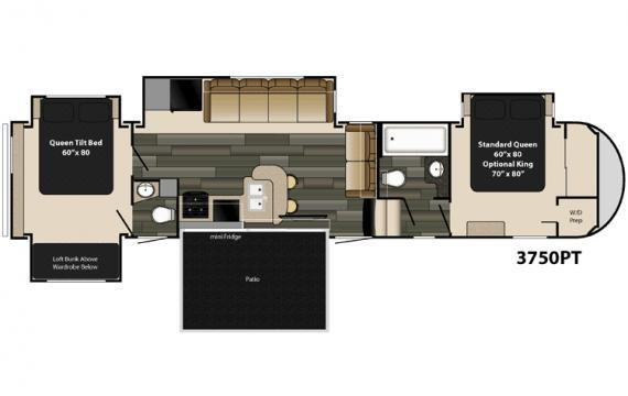 Gateway 3750pt patio deck 2 bedrooms 1 5 bath fifth wheel for Rv with 2 master bedrooms