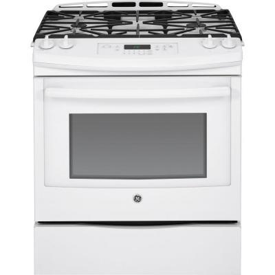 GE 5.6 cu. ft. Slide-In Gas Range with Self-Cleaning Oven in White