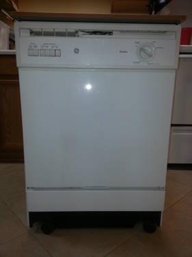 ge nautilus white portable dishwasher w butcher block top