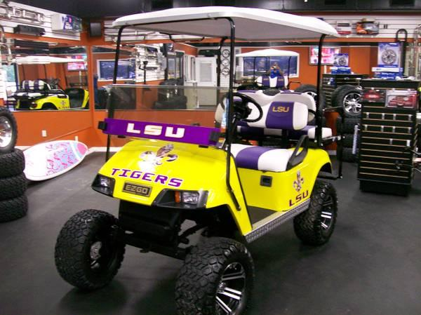 Geaux Tigers! LSU EZ-GO Golf Cart with Warranty - for Sale in ... on custom yamaha drive golf cart, custom golf cart paint colors, custom golf cart seats wholesale, custom golf cart utility, custom golf cart trailers, custom golf cart bodies, custom golf cart paint designs, custom audio golf cart, custom golf cart graphics, custom purdue golf cart, custom golf cart new orleans, custom columbia golf cart, custom golf cart speakers,