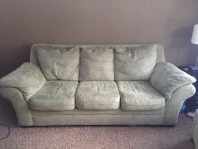 Superb Gently Used Sage Green Microfiber Couch And Chairs For Sale Pdpeps Interior Chair Design Pdpepsorg