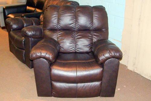Genuine 100 Leather Swivel Rock Recline Recliner As Is