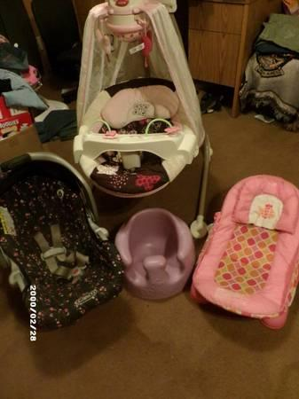 Girl Swing, bumbo, bath chair, and car seat - for Sale in Ninnekah ...