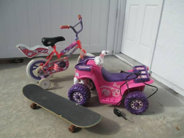 Girls bike, Girls PowerWheels, Kids skateboard - $20