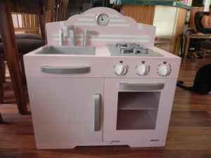 Girls Pink Retro Wood Play Kitchen - (North Lakeland) for Sale in ...