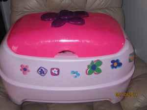 girls toybox Barbie pink/white with flowers - $10