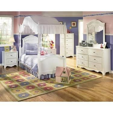 Girls White Canopy Bedroom Set Bed, Dresser, Mirror for Sale in ...