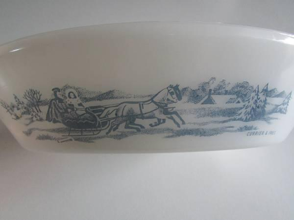 GLASBAKE Currier and Ives Divided Oval 1-12 Quart Casserole Dish - $10