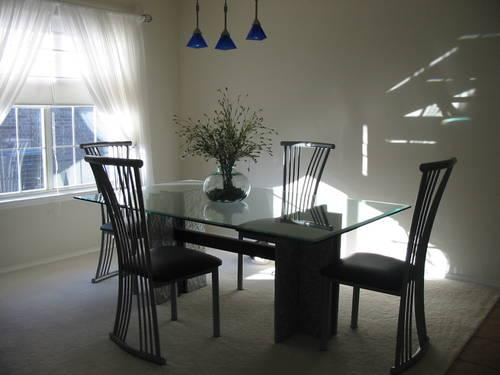 Glass and Granite Dining Room Table and Chairs - $600