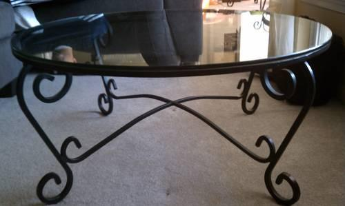 Glass Black Wrought Iron Coffee Table Pier One 1 Scroll Design For Sale In Owings Mills