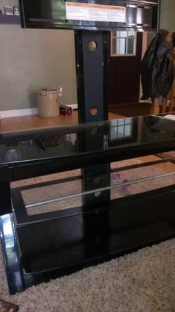 glass entertainment center - $80