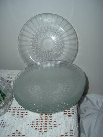 GLASS PLATES,CRYSTAL BOWELS, CANDLE HOLDERS - $10