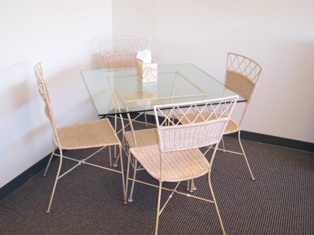Beau Glass Table And 4 Chairs, Office Desk, Comfy Reclining