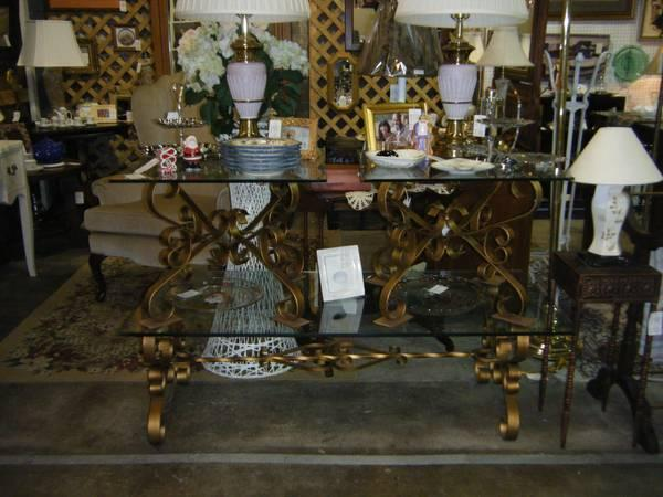 GLASS TOP COFFEE TABLE AND 2 END TABLES LOCATED AT PAST