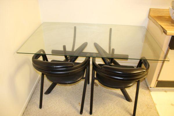 Glass top dining table 4 chairs wooden cabinet with free ikea table for sale in san bruno - Ikea wooden dining table chairs ...