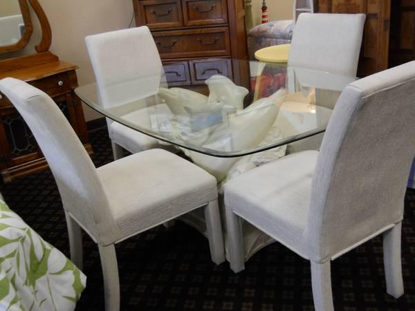 Glass Top Dolphin Base Dining Table w/ 4 Parson Chairs - for Sale in Pensacola, Florida ...