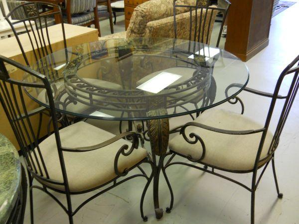Glass Top Iron Base Dining Table W 4 Chairs And Iron Backers Rack 60 40 Furniture