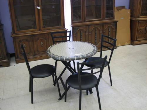 Glass Top Metal Patio Table And 4 Chairs For Sale In Fort