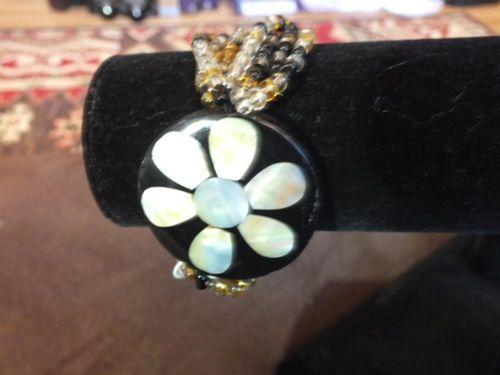 Gold and Black bead Abalone Mother of Pearl Bracelet