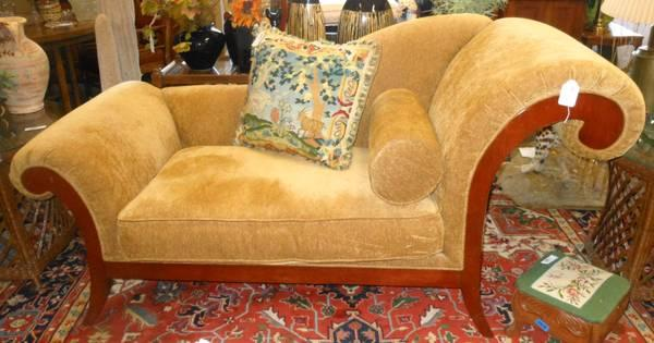 Gold Fabric Chaise Lounge Chair   $600