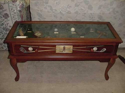 Golf Memoriablia Display Coffee Table For Sale In Fort Wayne - Display coffee table for sale