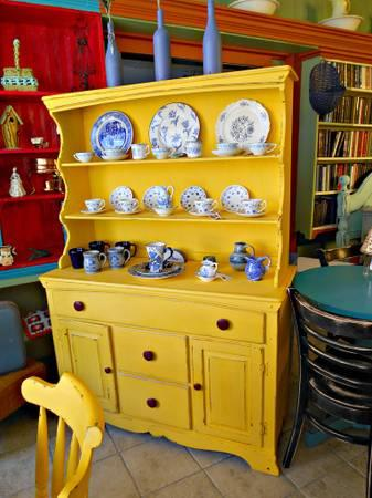 Gorgeous Sunshine Yellow Vintage Shabby Chic China Cabinet