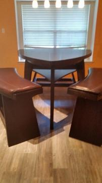 Gorgous HUGE Triangle Shaped Dining Table And Leather Benches For - Huge dining table for sale