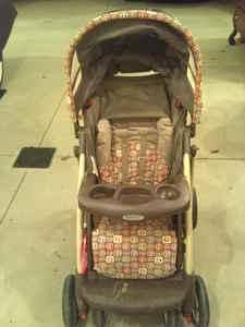 Graco Stroller and Pink John Deere crib set - $1