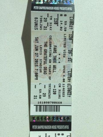 GRATEFUL DEAD TIX, SAT, JUNE 27 SHOW - $50