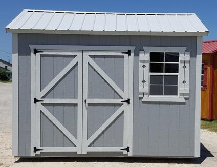Gray and White, 8'x12' Side Utility, Storage shed,