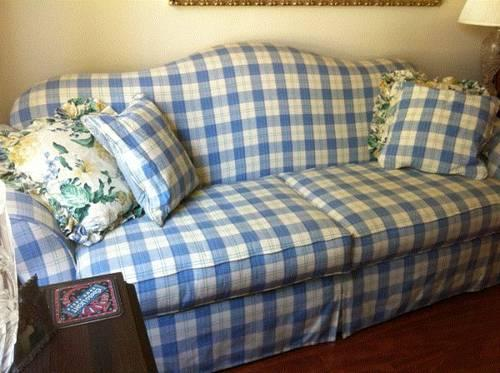 Great Looking Blue Gingham Couch For Sale