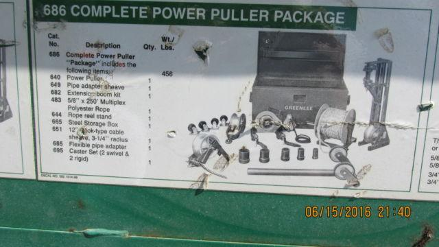 Greenlee 686 Power Cable Puller with extras