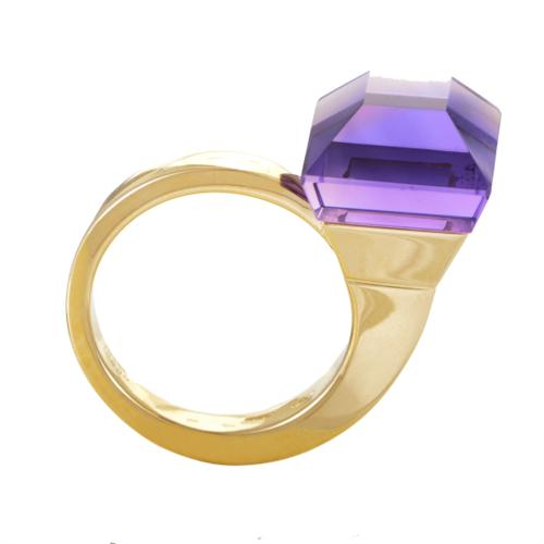 Gucci Chiodo Womens Curved 18K Yellow Gold Amethyst