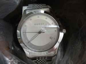 Gucci Men's 'G-Timeless' Stainless Steel Diamond Watch