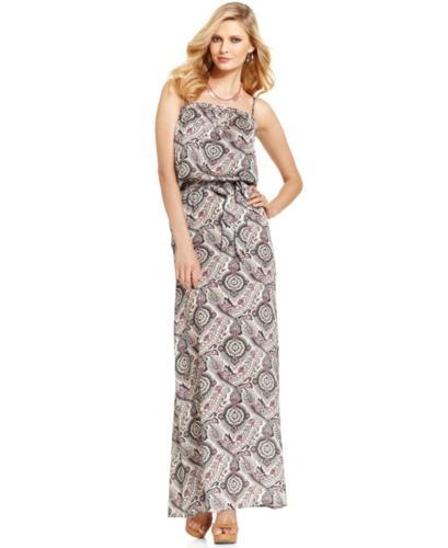 GUESS Dress, Sleeveless Square-Neck Paisley-Print Maxi
