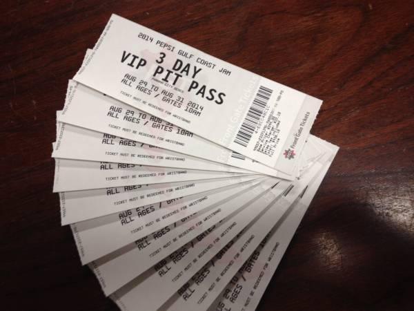 Gulf Coast Jam 3-Day VIP PIT PASS - $375