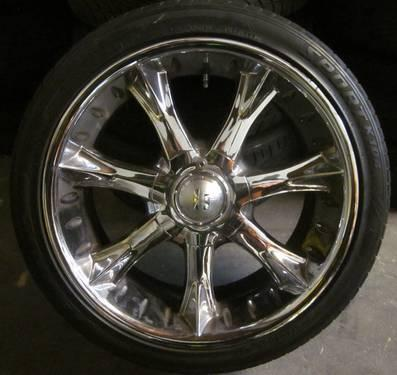 HALO 20 INCH CHROME RIMS & TIRES - 5X4.5 & 5X4.75 &