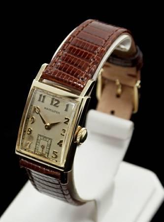 Hamilton Brock 14K Gold 1948 Mens Watch 982M Hadley Roma Lizard Band - $585
