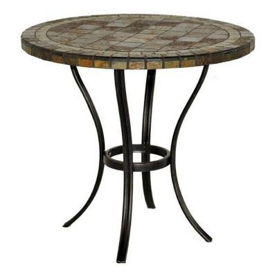 Hampton bay 30 in round slate patio bistro table for sale for Outdoor round table tops for sale